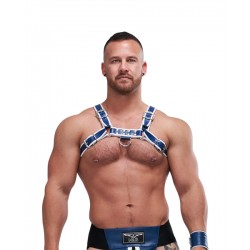 Mister B Leather Circuit Harness Blue White in leather pelle