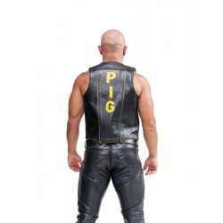 Mister B Leather Muscle Vest Pig Black Yellow gilet in leather pelle