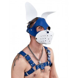 Mister B Leather Circuit Shaggy Dog Hood Blue White testa di cane maschera in pelle