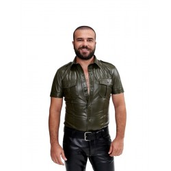 Mister B Sheep Leather Police Shirt Green camicia stile polizia in pelle