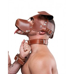 Mister B Leather Collar Stitched Brown collare in pelle marrone