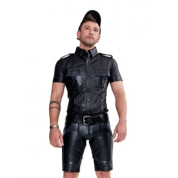 Mister B Leather Police Shirt Short Sleeves Blue Piping camicia police in pelle nero bordini in blue