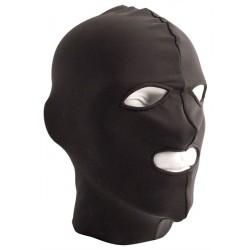 Mister B Lycra Hood Eyes and Mouth Open Black maschera cappuccio con fori per gli occhi e bocca