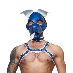 Mister B Leather Circuit Floppy Dog Hood Blue White testa di cane maschera in pelle
