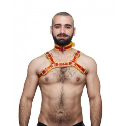 Mister B Leather Circuit Collar Red-Yellow collare in pelle