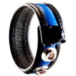 Black Label 3 Snap Leather Cock Ring Black Blue cocking in pelle con tre clips