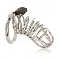 Black Label Stainless Steel Male Chastity Device Spiral Ring 40 mm. gabbia di castità pene in acciaio inox