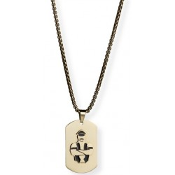 Master of the House Dog Tag Stainless Steel Gold Plating collana con pendente leather