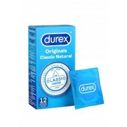 DUREX Classic Natural 12 pz. profilattici preservativi 56 mm. lubrificati con lubrificante a base di silicone