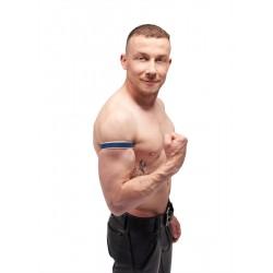 Mister B Leather Circuit Biceps Band Blue White bracciale per avambraccio bicipite in pelle