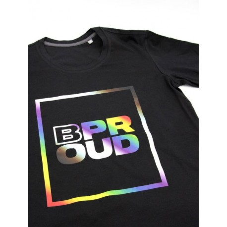 Mister B T-shirt B PROUD Black maglietta logo con arcobaleno gay pride
